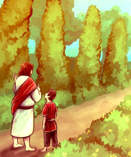 Child listening to Jesus on a garden path